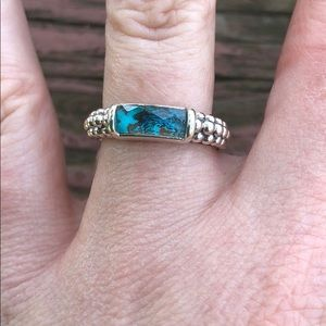 Lagos Sterling silver/chrysocolla ring Caviar bead